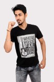 Indrow Printed Men's V-neck Black T-Shir...