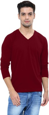 Softwear Solid Men's V-neck Maroon T-Shirt