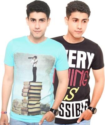 Zwizdot Printed Men,s Round Neck Multicolor T-Shirt