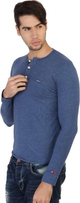 Being Human Solid Men's Round Neck Blue T-Shirt