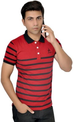 Sparkk Striped Men's Polo Neck Multicolor T-Shirt