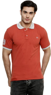 ominous Solid Men,s Polo Neck Red T-Shirt