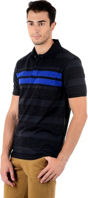 Mudo Striped Men's Polo Neck Black, Blue T-Shirt