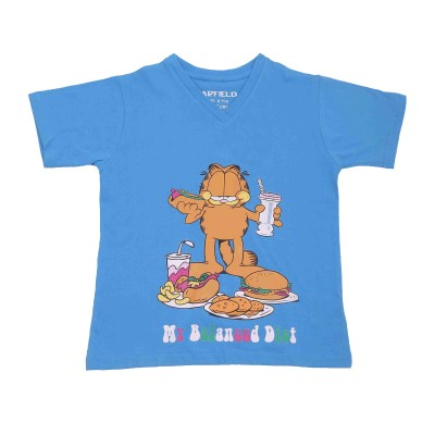 Garfield Printed Boy's V-neck T-Shirt