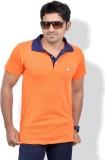 Chakravarthi Solid Men's Polo Neck Orang...