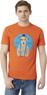 Peter England Printed Men's Round Neck Orange T-Shirt