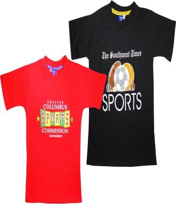 Sweet Angel Printed Boy's Round Neck Red, Black T-Shirt