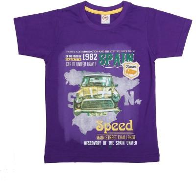 Kyle Graphic Print Baby Boy's Round Neck Purple T-Shirt