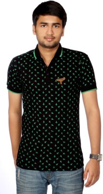 AADUKI Printed Men's Polo Neck Black T-Shirt