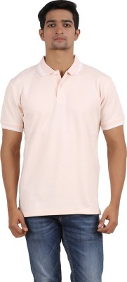 Anytime Solid Men's Polo Neck Orange T-Shirt