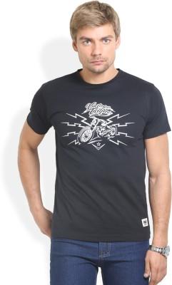 HW Printed Men,s Round Neck Black T-Shirt
