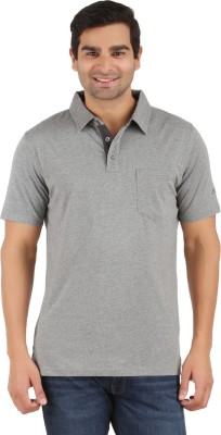 Lavos Solid Men's Polo Neck Grey T-Shirt