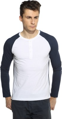 Pepperclub Solid Men's Henley Blue, White T-Shirt