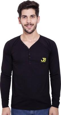Jangoboy Solid Men's V-neck Black T-Shirt