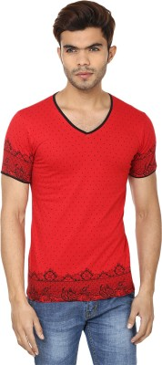 Lowcha Polka Print Men's V-neck T-Shirt