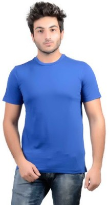 DS WORLD Solid Men's Round Neck Blue T-Shirt