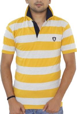 Grey Tree Striped Men,s Polo Neck Yellow T-Shirt