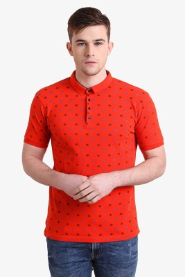 Alvin Kelly Printed Men's Polo Neck Red T-Shirt
