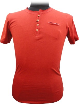 BK Black Striped Men's Round Neck Red T-Shirt