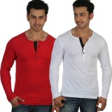 Rigo Solid Men's Henley Red, White T-Shi...