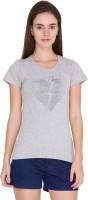 Alibi Solid Women's Round Neck Grey T-Shirt best price on Flipkart @ Rs. 425