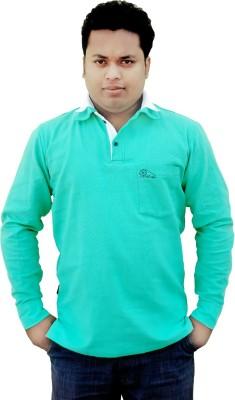 Khadi Natural Solid Men's Polo Neck Green, White T-Shirt
