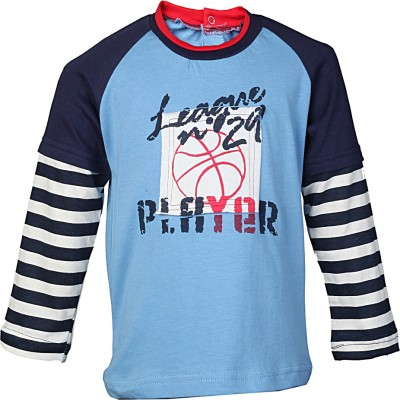Karrot by Shoppers Stop Printed Baby Girl,s Round Neck Blue T-Shirt