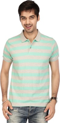 ACROPOLIS by Shoppers Stop Striped Men,s Polo Green T-Shirt