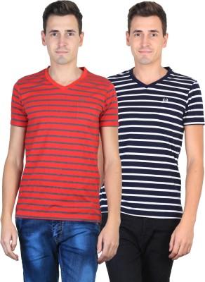 Duke Striped Men's V-neck Red, Black T-Shirt