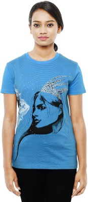 Sunakaran Printed Women's Round Neck Blue T-Shirt