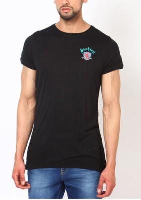 Blacksoul Solid Men's Round Neck Black T-Shirt