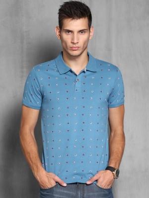 WROGN Printed Men's Polo Neck Blue T-Shirt