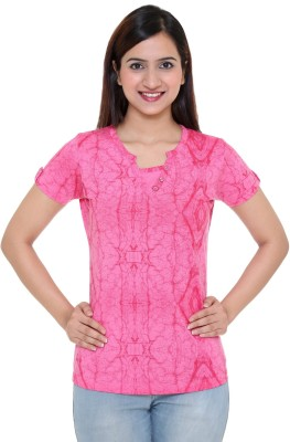 IN Love Formal, Party, Casual Short Sleeve Printed Women's Pink Top
