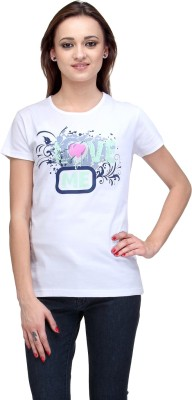 Stilestreet Printed Women's Round Neck White T-Shirt
