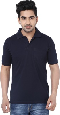 Crocks Club Solid Men's Polo Neck Dark Blue T-Shirt