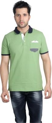 Nostrum Jeans Solid Men's Polo Neck Light Green, Blue T-Shirt