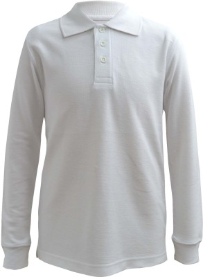 Blueriver Solid Boy's Polo Neck White T-Shirt