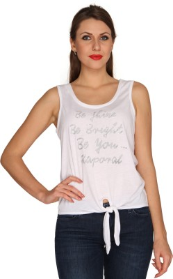 Bedazzle Printed Women's Round Neck White, Silver T-Shirt