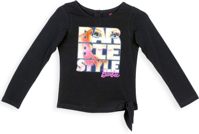 Barbie Graphic Print Girl's Round Neck Blue T-Shirt