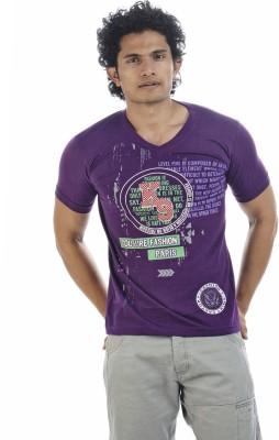 Shapers Printed Men's V-neck Purple T-Shirt