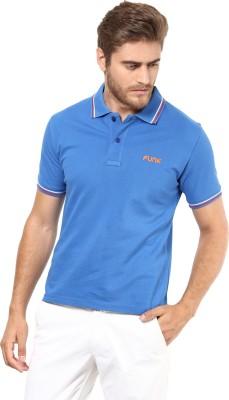 FUNK Solid Men's Polo Neck Blue T-Shirt