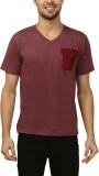 Ashdan Solid Men's V-neck Maroon T-Shirt