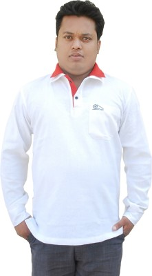 Khadi Natural Solid Men's Polo Neck White, Red T-Shirt