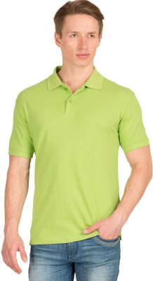 Wilkins & Tuscany Solid Men's Polo Neck Green T-Shirt