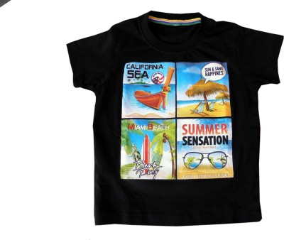 PRAYAG Printed Baby Boy's Round Neck Black T-Shirt