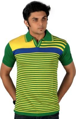 A33 Store Striped Men's Flap Collar Neck Yellow, Green T-Shirt