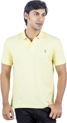 X-Tint Solid Men's Polo Neck Yellow T-Shirt