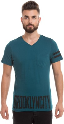 Prym Printed Men's V-neck Green T-Shirt