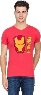Vidyuth Traders Printed Men's V-neck Pink T-Shirt