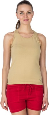 Lovable Solid Women's Round Neck Beige T-Shirt